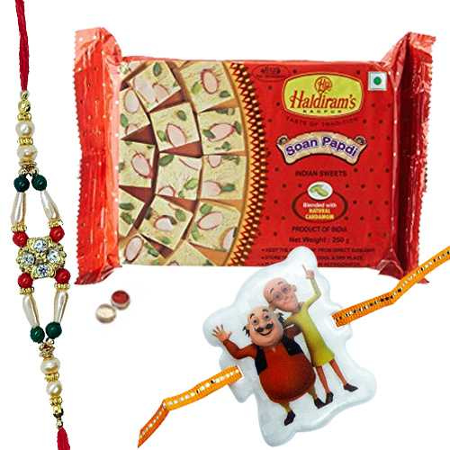 Elegant Combo Of Lovable Rakhi With Angry Bird Kid Rakhi And Haldiram Soan Papdi