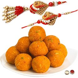 Modish Bhaiya Bhabhi Rakhi Set Along With Scrumptious Bundi Laddoo