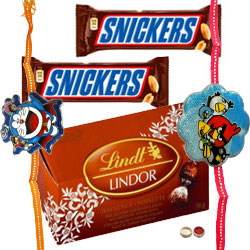 Delectable Snickers with Lindt Small Pack and 2 Kids Rakhi