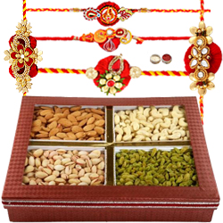 Modish 5 Rakhi With Dry Fruits
