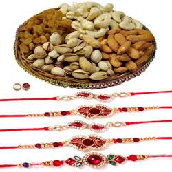Selective 5 Rakhi With Cashews