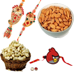 Fancy Bhaiya Bhabhi Rakhi With Single Kid Rakhi , Almond , cashews