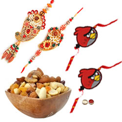 Majestic Bhaiya Bhabhi Rakhi Set, 2 Kid Rakhi And Mixed Dry Fruits