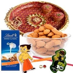 Perfect Combination Of Kids Rakhi, Thali, Lindt Swiss Classic Milk Chocolate & Almond Bar And Almond