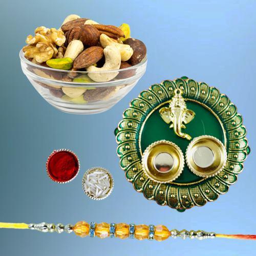 Classy Diamond Rakhi with Pooja Thali N Assorted Dry Fruits