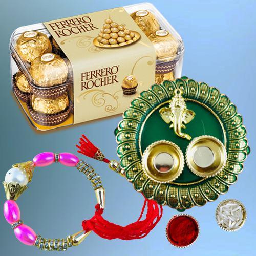 Charming Bracelet Rakhi with Ferrero Rocher n Pooja Thali
