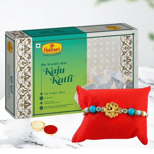 Exclusive Rakhi, Kaju Roll, Free Roli Chawal Tilak N Card
