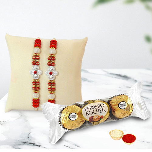 Set of 2 Beaded Rakhi with Ferrero Rocher Chocolate