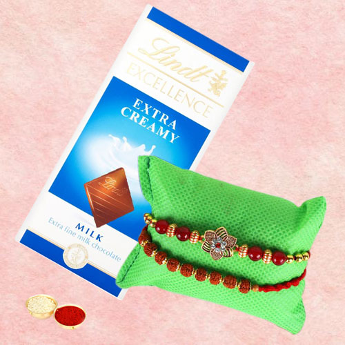 Dazzling Rudrakhsh and Beaded Rakhi with Lindt Chocolate