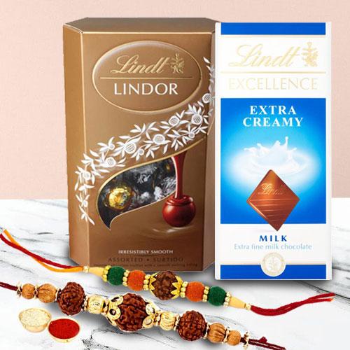 Dazzling Rudraksh Rakhi Pair with Chocolates