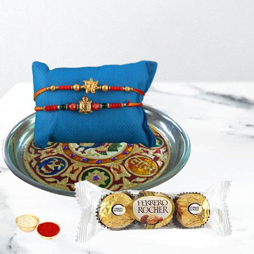 Flattering Rakhi Set with Designer Thali N Chocolates