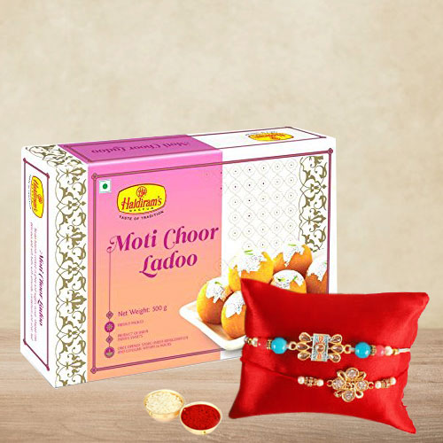 Designer Rakhi Set of 2 with Yummy Boondi Laddoo