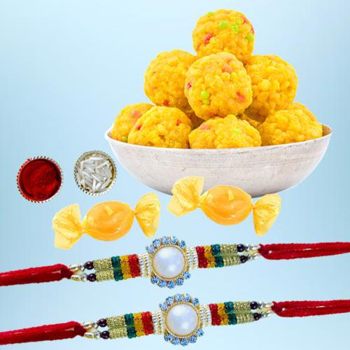 Classy Rakhi Set of 2 with Boondi Laddoo N Free Chocolates