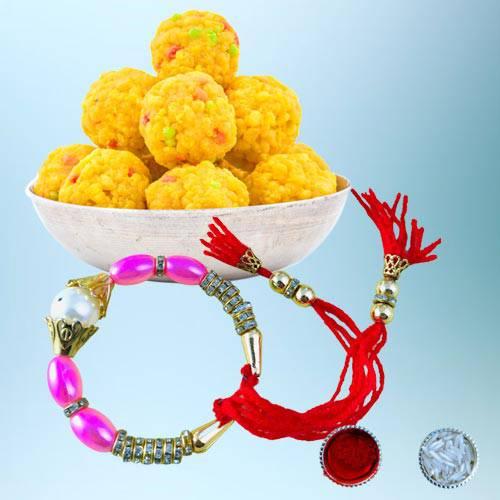 Astonishing Bracelet Rakhi with Delicious Boondi Laddo