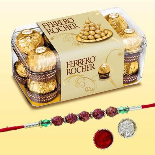 Exclusive Rudraksha Rakhi with 15pc Ferrero Rocher Pack