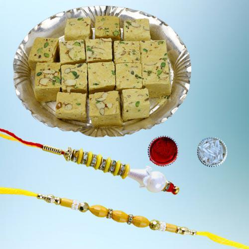 Wonderful Bhaiya Bhabhi Rakhi N Tasty Soan Papdi Combo