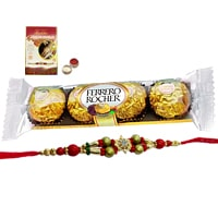 A 5 pcs Ferrero Rocher Chocolate Pack with Rakhi and Roli Tilak Chawal