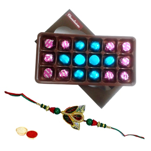 Delectable 18 Pcs Chocolate Box with Raksha Bandhan