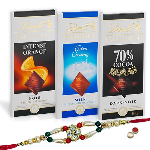 Exotic  Lindt Chocolate Bars with Rakhi and Roli Tilak Chawal