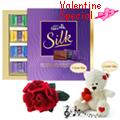 Scintillating Chocolate n Teddy Gift Hamper with 1 Velvet Rose