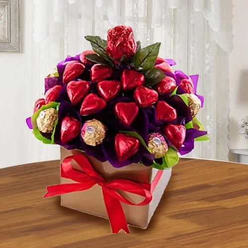 Wonderful Ferrero Rocher n Heart Shaped Hond-made Chocolates Arrangement