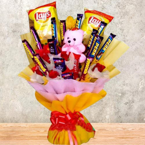 Remarkable Bouquet of Chocolates, Chips N Teddy