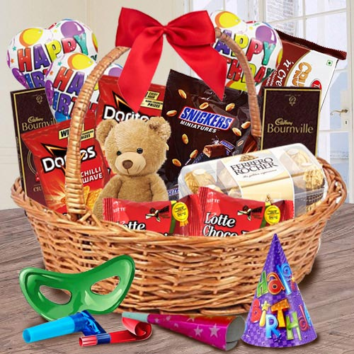 Remarkable Gift Basket of Chocolates, Teddy N Assortments