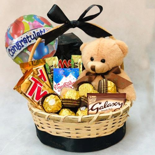 Exclusive Gift Basket of Chocolates N Teddy