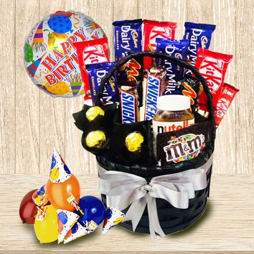 Enticing Chocolate Gift Basket for Boys and Girls