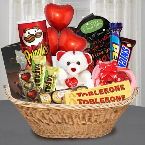 Exclusive Chocolate Gift Basket with Teddy N Balloons