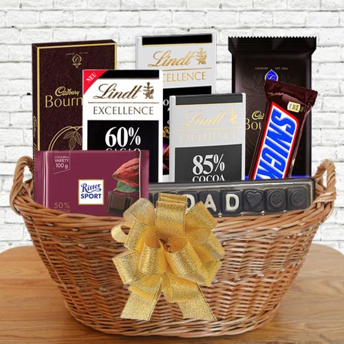 Wonderful Gift Basket of Dark Chocolates for Father