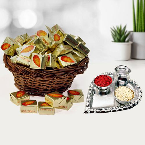 Almond Toffee with Silver Plated Puja Thali