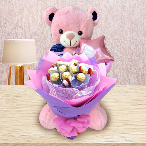 Wonderful Teddy with Ferrero Rocher Bouquet N Mylar Balloons