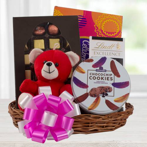 Marvelous Chocolate Gift Basket with Teddy