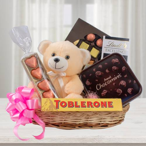 Delectable Chocolate Hamper with Teddy