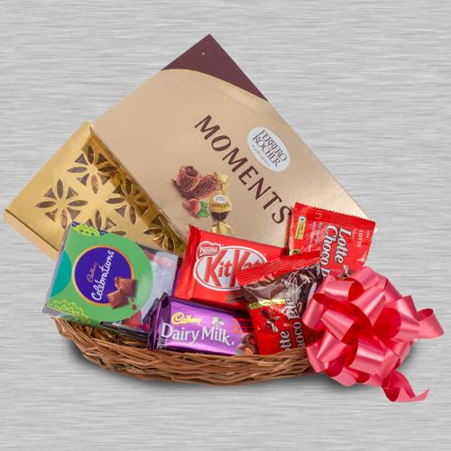Delectable Chocolaty Gifts Basket for Kids