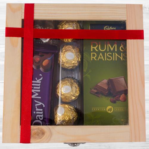 Delightful Wooden Gift Box of Assorted Chocolates
