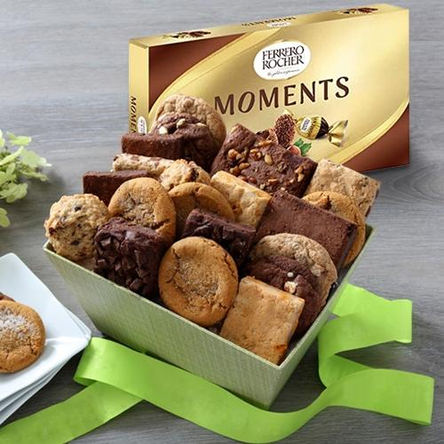 Yummy Brownies with Cookie Mans Assorted Cookies Gift Box