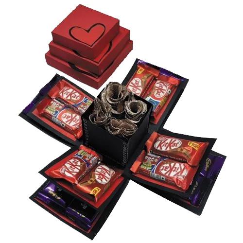Romantic 3 Layered Explosion Box of Roses N Chocolates