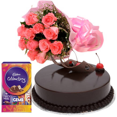 Book Pink Roses Bunch with Cake N Cadbury Pack Online