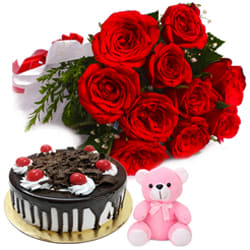 Book Black Forest Cake with Teddy N Red Roses Bouquet Online