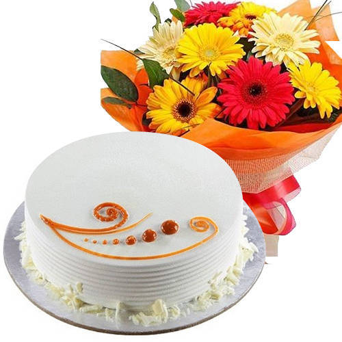 Gift Online Mixed Flowers Bunch with Vanilla Cake
