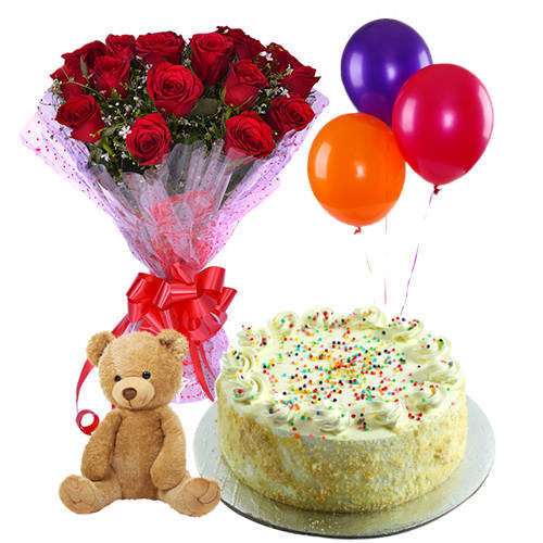 Order Red Roses with Vanilla Cake, Teddy n Balloons Online