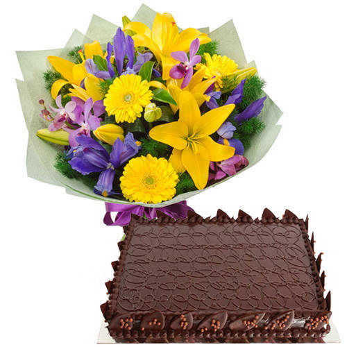 Book Online Mixed Flowers Bunch with Chocolate Cake