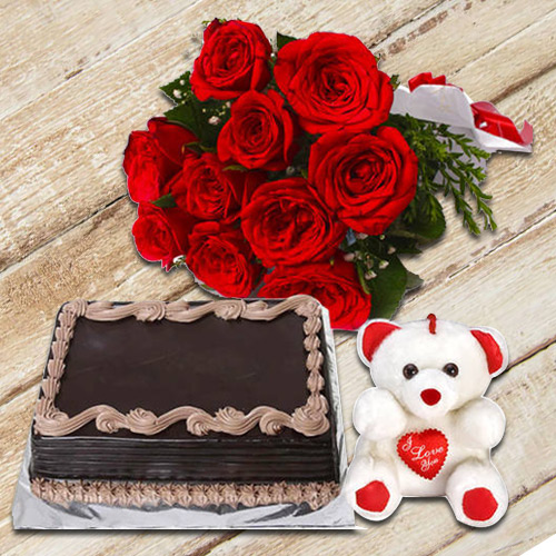 Gorgeous Red Roses Bunch with Chocolate Cake & Small Teddy