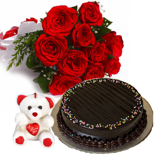 Elegant Ten Red Roses Bunch with Choco Truffle Cake & Small Teddy