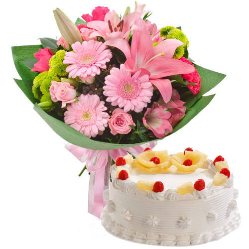 Send Mixed Flowers Bunch with Pineapple Cake Online