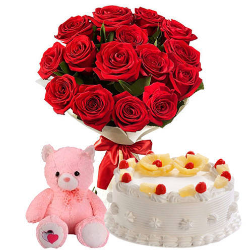 Send Combo Gift of Red Roses Bunch with Pineapple Cake N Teddy Online