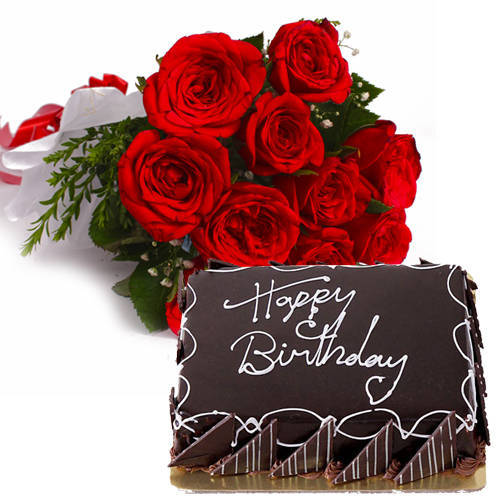 Beautiful Red Roses Bouquet with Eggless Chocolate Cake