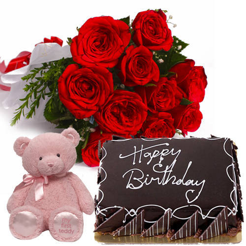 Pretty Red Roses Bunch with Eggless Chlocolate Cake & Small Teddy